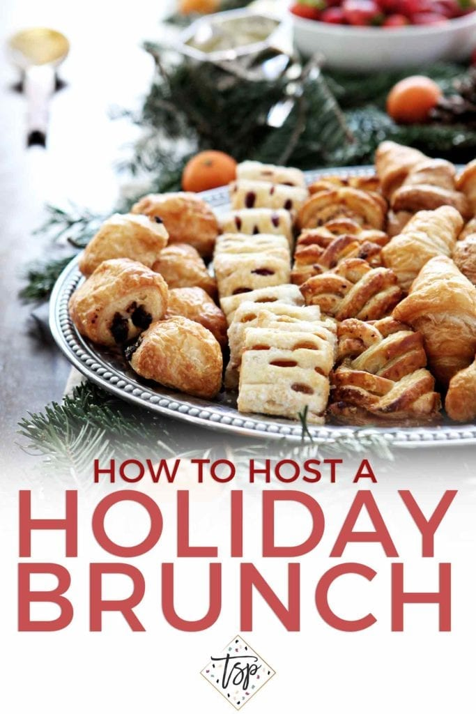 Pinterest image for How to Host a Holiday Brunch, featuring the tablescape and Pinterest text