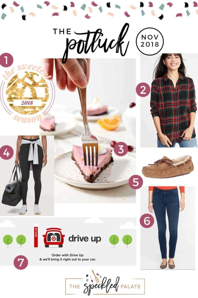 Pinterest collage for The Potluck: November 2018, featuring all seven items