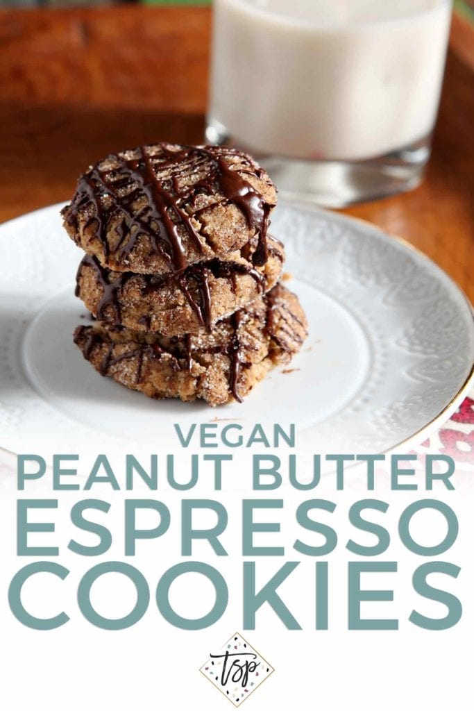 A stack of Vegan Peanut Butter Espresso Cookies is served with non-dairy milk; shown with a Pinterest text overlay