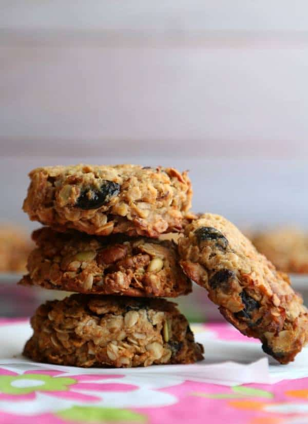 Gluten-Free Granola Breakfast Cookies are stacked on top of each other