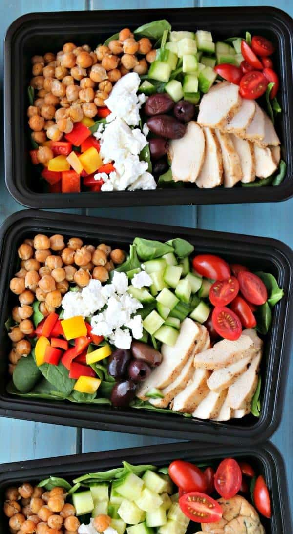 Three Meal Prep Mediterranean Chicken Bowls are shown from above
