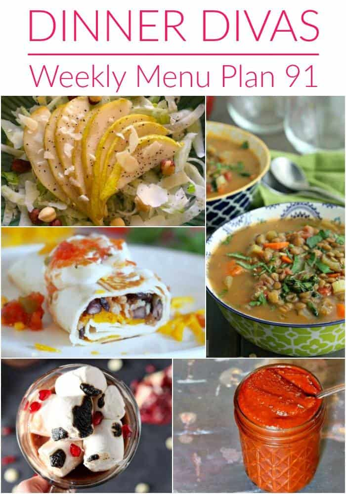 Pinterest photo for Dinner Divas Weekly Meal Plan 91, featuring five of the seven recipes