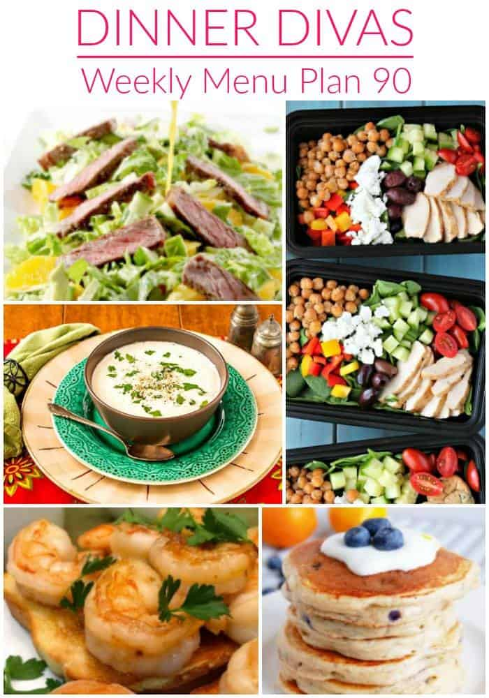 Pinterest photo for Dinner Divas Weekly Meal Plan 90, featuring all seven recipes