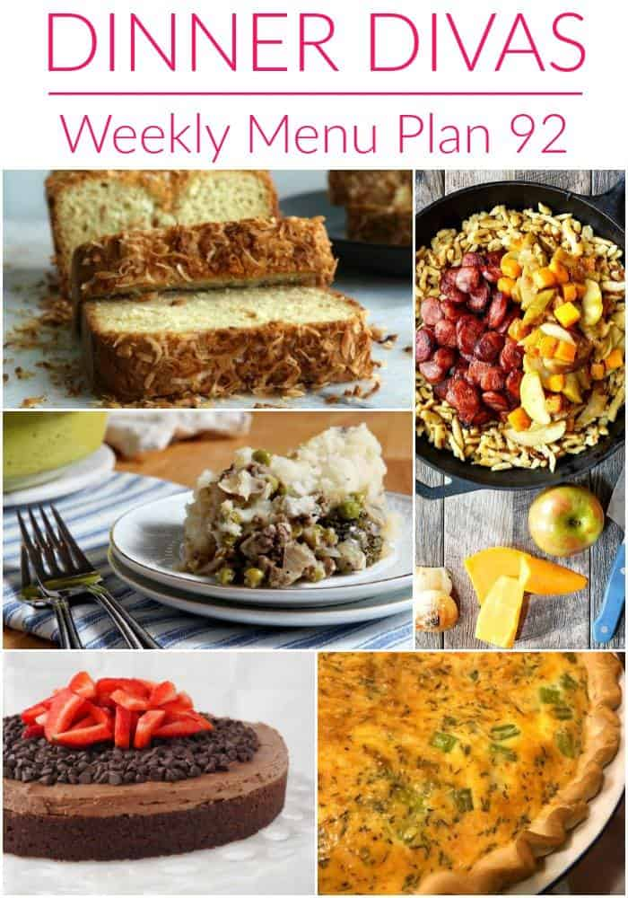Pinterest photo for Dinner Divas Weekly Meal Plan 92, featuring a collage of SIX of the recipes featured
