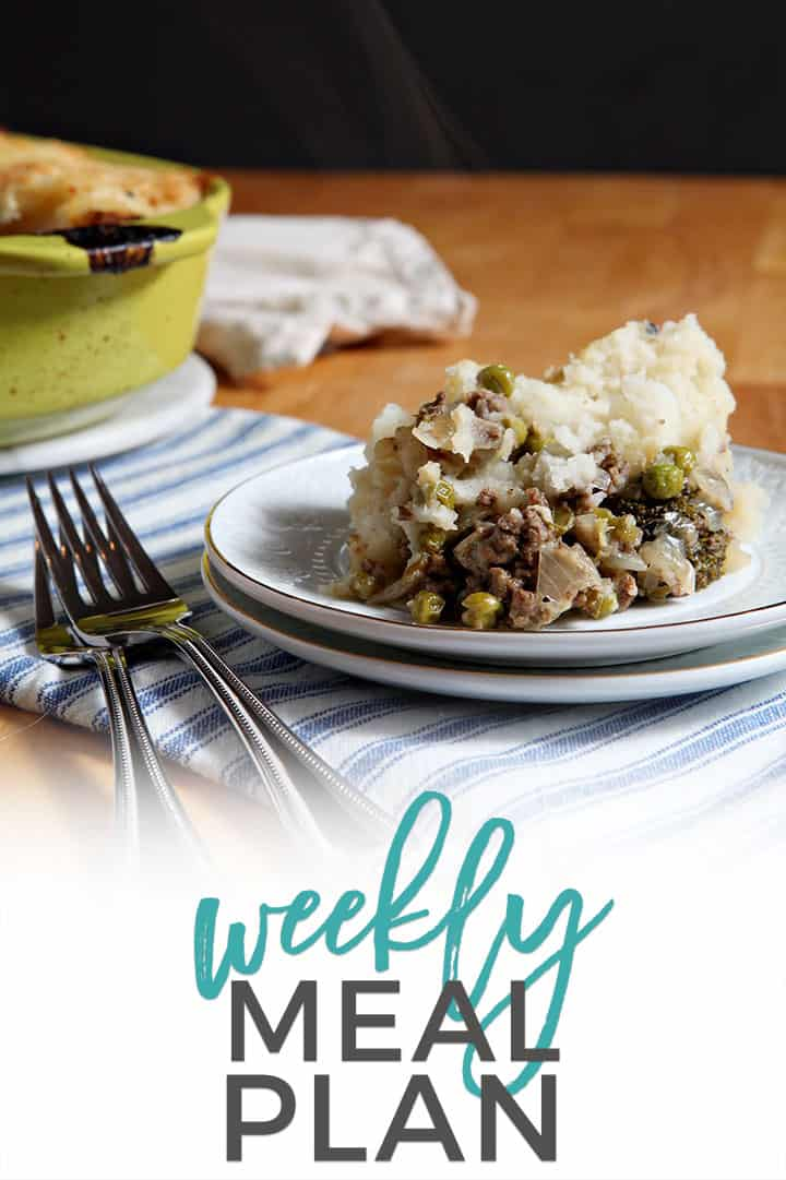 Pinterest photo for Dinner Divas Weekly Meal Plan 92, featuring a photo of Shepherd's Pie