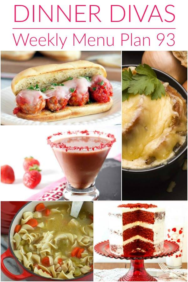 Collage for Dinner Divas Weekly Meal Plan 93, featuring five of the seven recipes