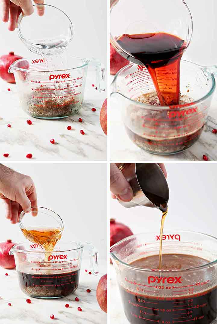 Collage showing the steps of how to make Pomegranate Hot Buttered Rum and add in the liquids