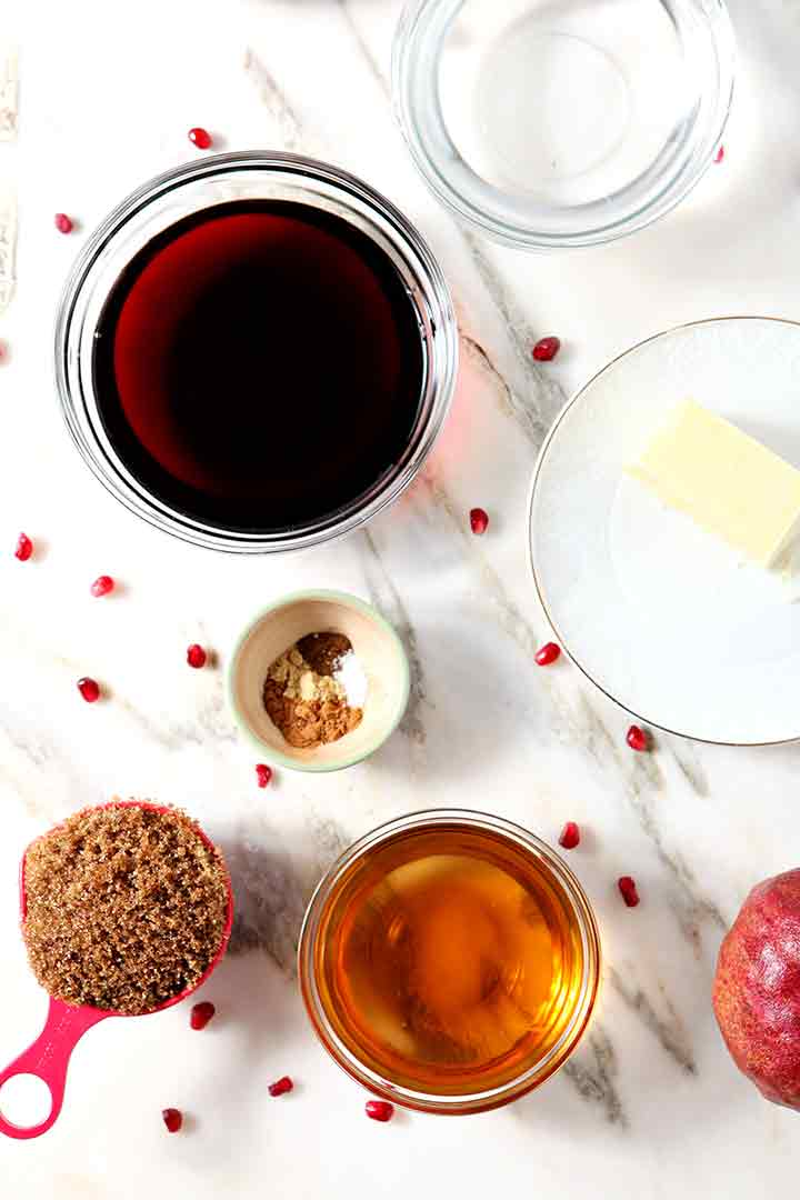 Ingredients for Pomegranate Hot Buttered Rum