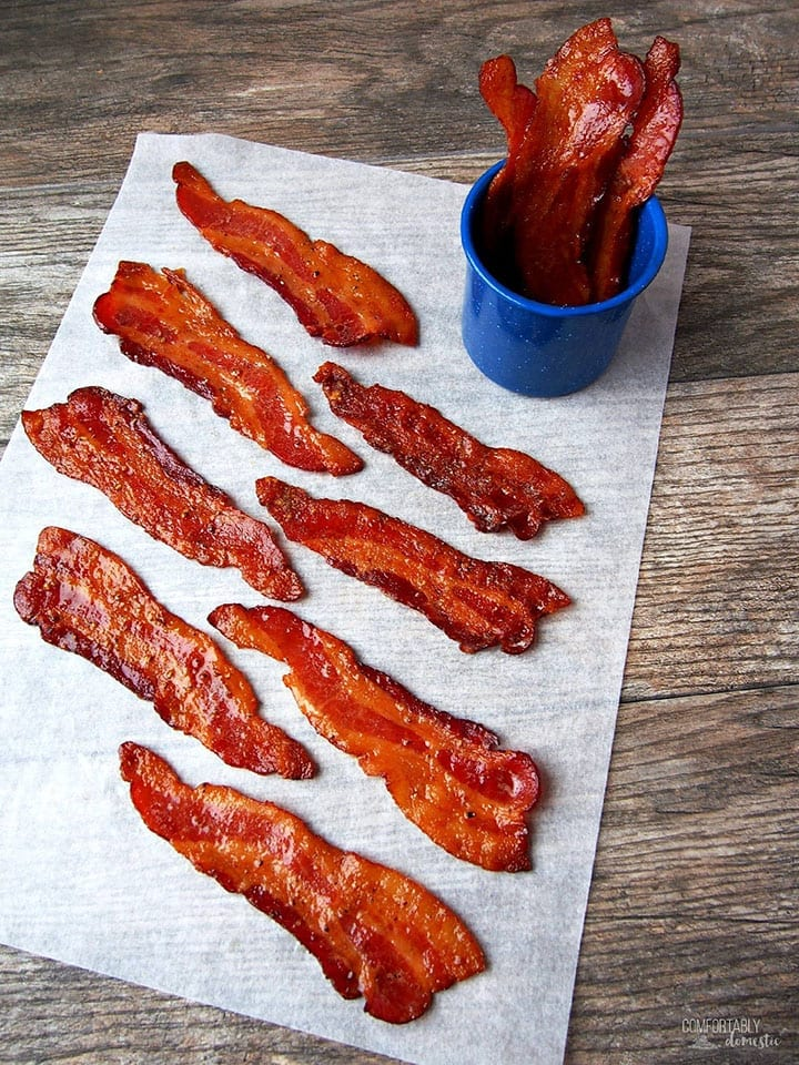 Candied Maple Bacon is served on a board