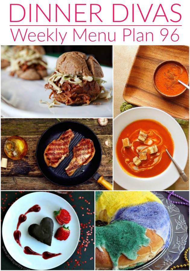 Pinterest photo for Dinner Divas Weekly Meal Plan 96, featuring five of the seven dishes shared