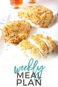 Pinterest photo for Dinner Divas Weekly Meal Plan 94, featuring a photo of Sweet Tea Oven Fried Chicken