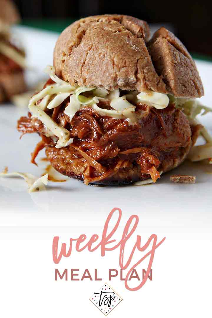 Pinterest photo for Dinner Divas Weekly Meal Plan 96, featuring a close-up photo of Slow Cooker BBQ Chicken Sandwiches with Mustard Coleslaw