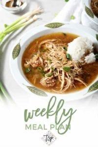 Pinterest photo for Dinner Divas Weekly Meal Plan 97, featuring a close-up photo of Chicken and Sausage Gumbo
