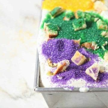 No Churn Mardi Gras King Cake Ice Cream in a loaf pan before freezing