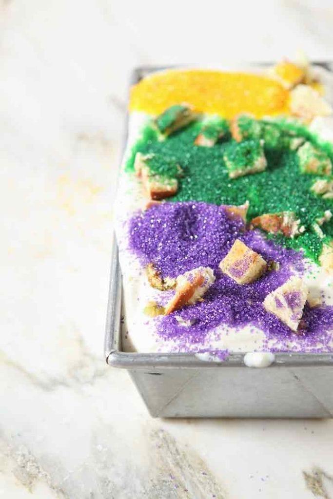 No Churn Mardi Gras King Cake Ice Cream in a loaf pan before freezing