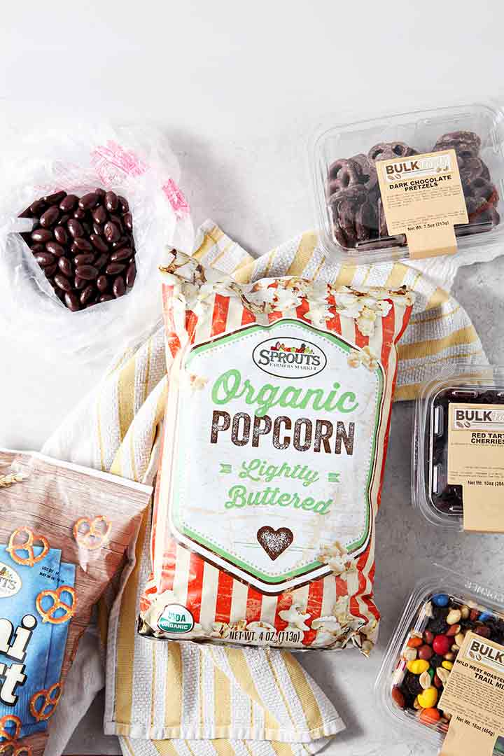 Ingredients to make popcorn snack mix