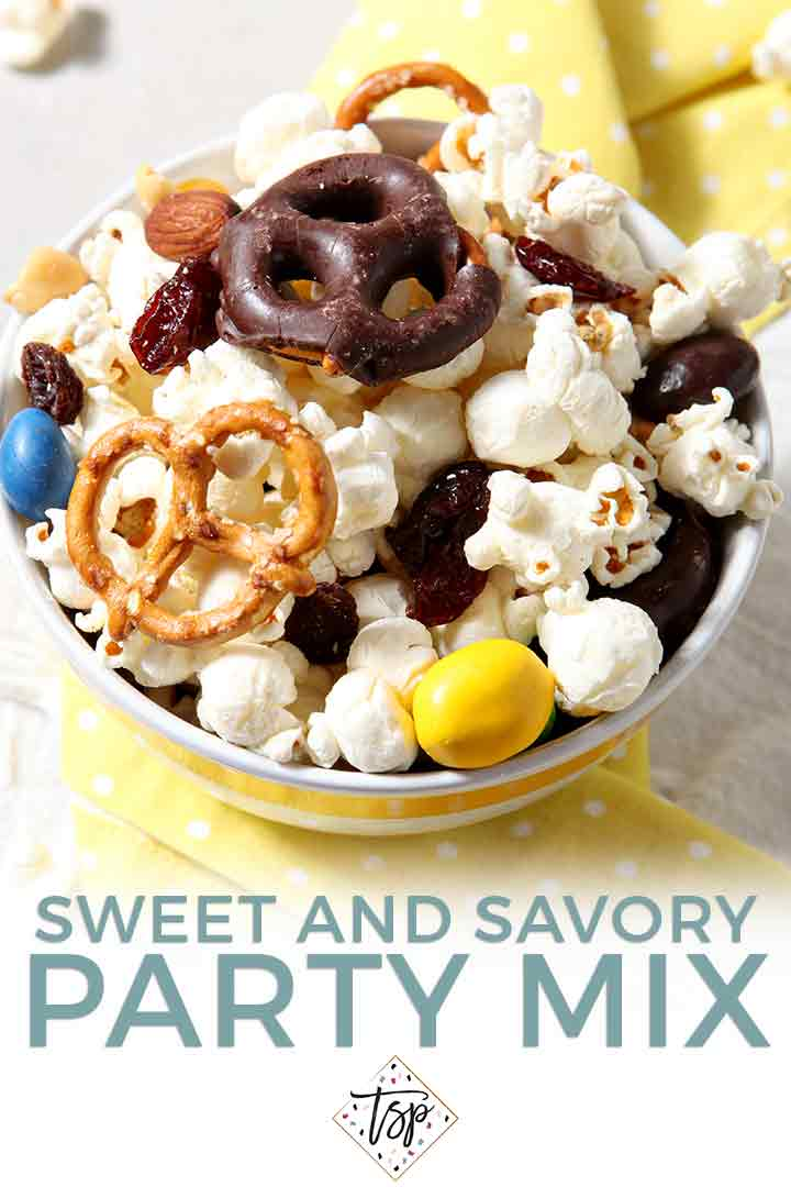 Pinterest graphic for Popcorn Party Mix Recipe, including a close up of the recipe and text