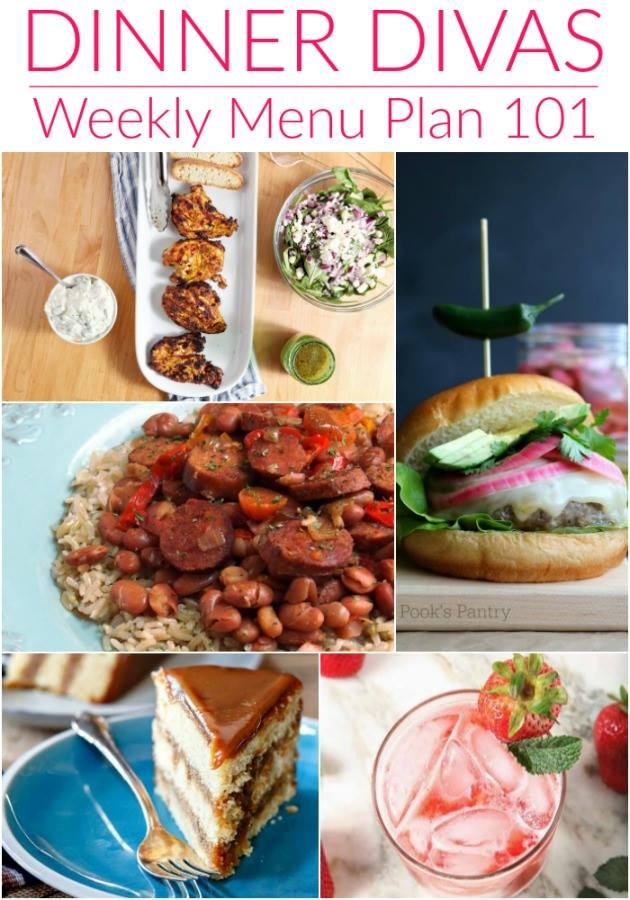 Collage photo for Dinner Divas Weekly Meal Plan 101, featuring five of the seven recipes