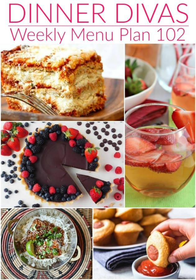 Collage for Dinner Divas Weekly Meal Plan 102, featuring five of the seven recipes shared