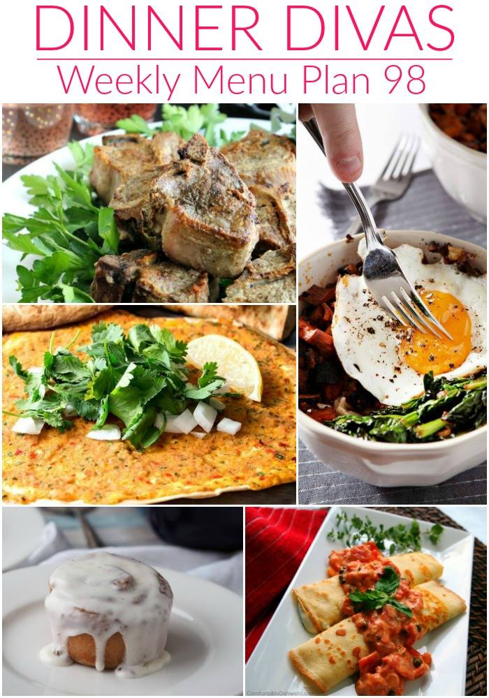 Collage for Dinner Divas Weekly Meal Plan 98, featuring a collage of five of the recipes