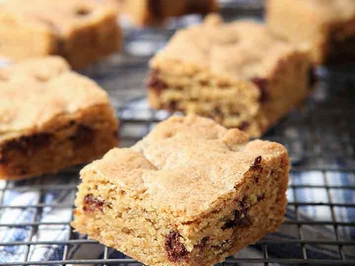 Chocolate Chip Cookie Bars cool on a wire cooling rack