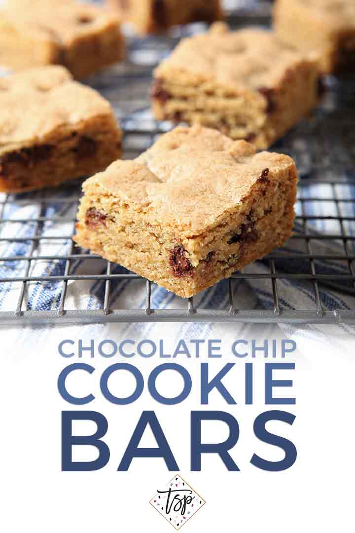 Cookie bars cool on a wire rack with Pinterest text