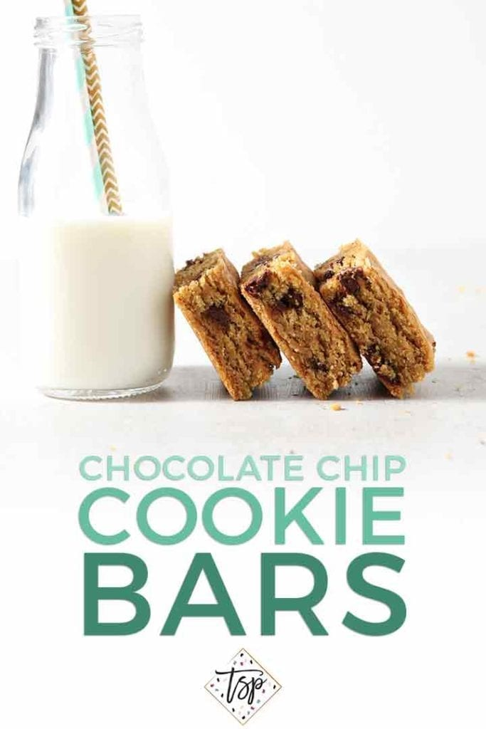 Chocolate Chip Cookie Bars lean against a glass of milk with Pinterest text