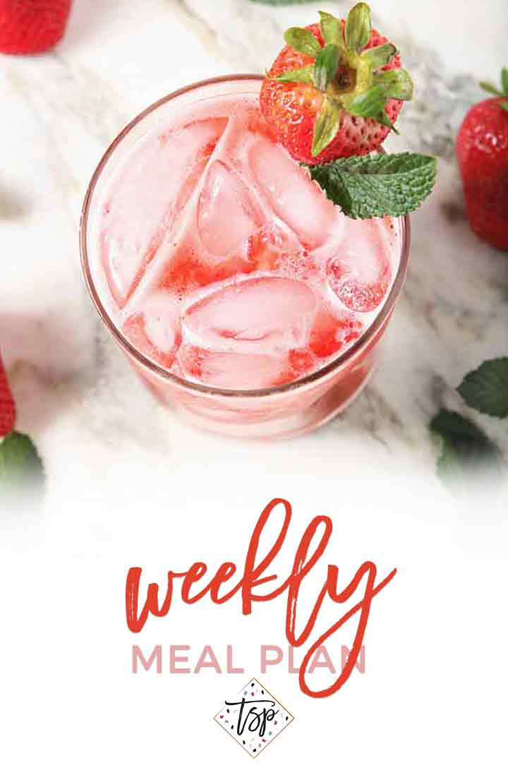 Pinterest photo for Dinner Divas Weekly Meal Plan 101, featuring a close-up photo of a Strawberry Moscow Mule