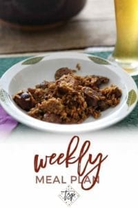 Pinterest photo for Dinner Divas Weekly Meal Plan 98, featuring a close-up photo of Chicken and Sausage Jambalaya