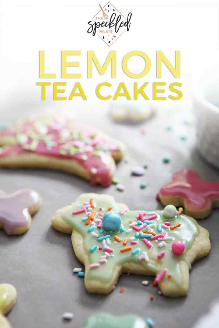 Decorated Lemon Tea Cake Cookies are shown on wax paper with Pinterest text