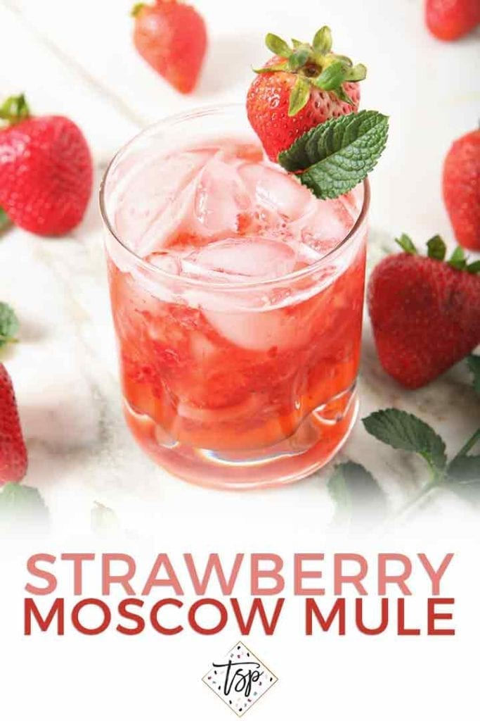 Close up of a Strawberry Moscow Mule with Pinterest text