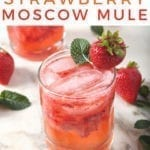 Close up of a Strawberry Mule, with Pinterest text