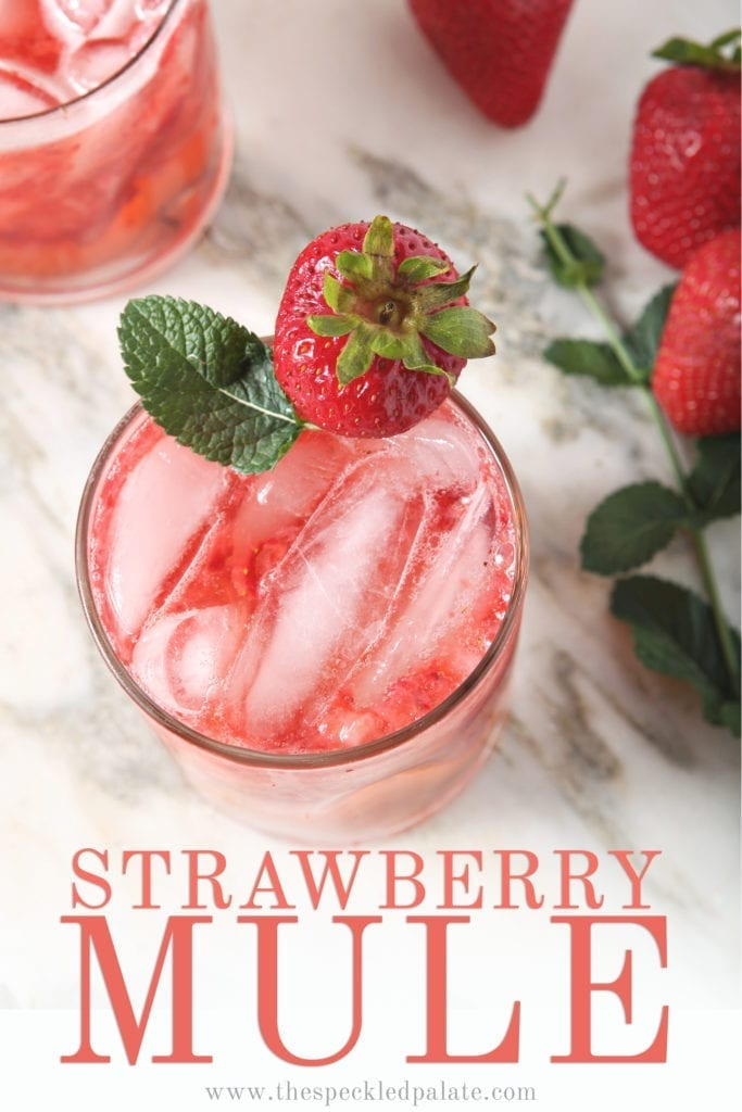 Overhead of Strawberry Moscow Mule, with Pinterest text
