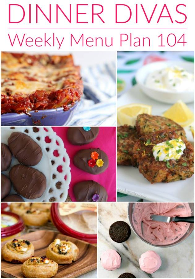 Pinterest photo for Dinner Divas Weekly Meal Plan 104, featuring five of the seven recipes shared