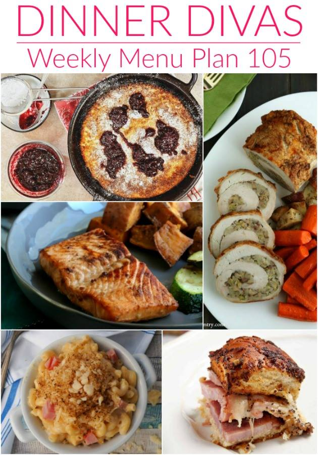 Collage for Dinner Divas Weekly Meal Plan 105, featuring five of the seven recipes shared