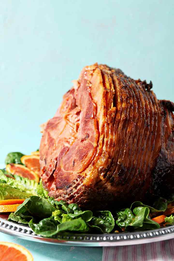 Close up image of a Baked Ham with Bourbon Orange Glaze