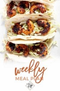 Pinterest photo for Dinner Divas Weekly Meal Plan 103, featuring a close-up photo of a Blackened Shrimp Tacos