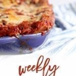 Pinterest photo for Dinner Divas Weekly Meal Plan 104, featuring a close-up photo of a Vegetarian Spinach Lasagna