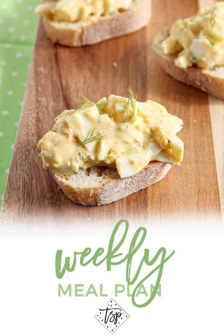 Pinterest photo for Dinner Divas Weekly Meal Plan 105, featuring a close-up photo of a Deviled Egg Bruschetta