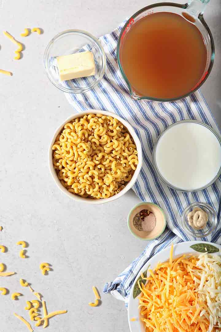Ingredients to make Macaroni and Cheese in the Instant Pot, from above