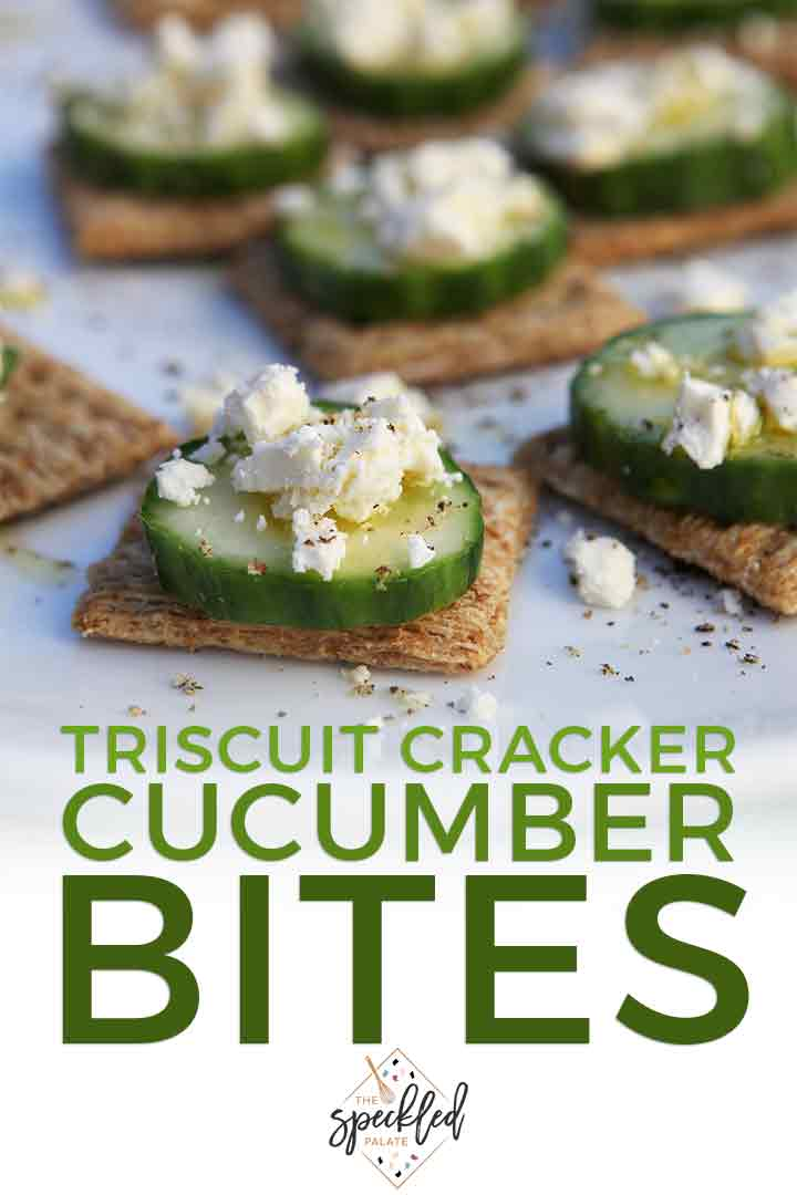 Pinterest photo for TRISCUIT Cucumber Bites, including a close up of the cucumber appetizer and Pinterest text