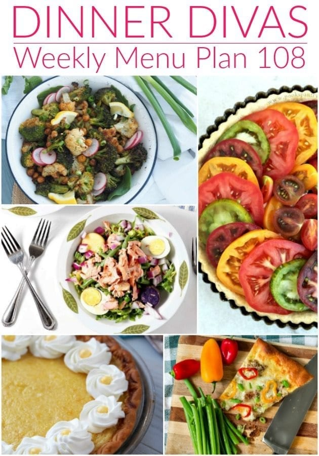 Collage for Dinner Divas Weekly Meal Plan 108, featuring five of the seven recipes for the week