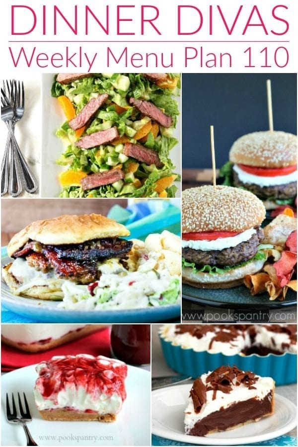 Collage for Dinner Divas Weekly Meal Plan 110, featuring five of the seven recipes included