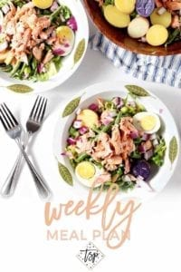 Pinterest photo for Dinner Divas Weekly Meal Plan 108, featuring two bowls of Salmon Nicoise Salad, ready for eating