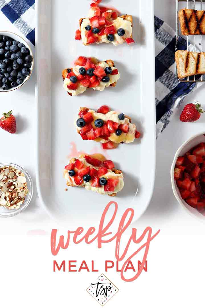 Pinterest photo for Dinner Divas Weekly Meal Plan 109, featuring an overhead image of Patriotic Strawberry Bruschetta