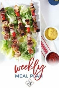 Pinterest photo for Dinner Divas Weekly Meal Plan 110, featuring an overhead image of Cheeseburger Kebabs