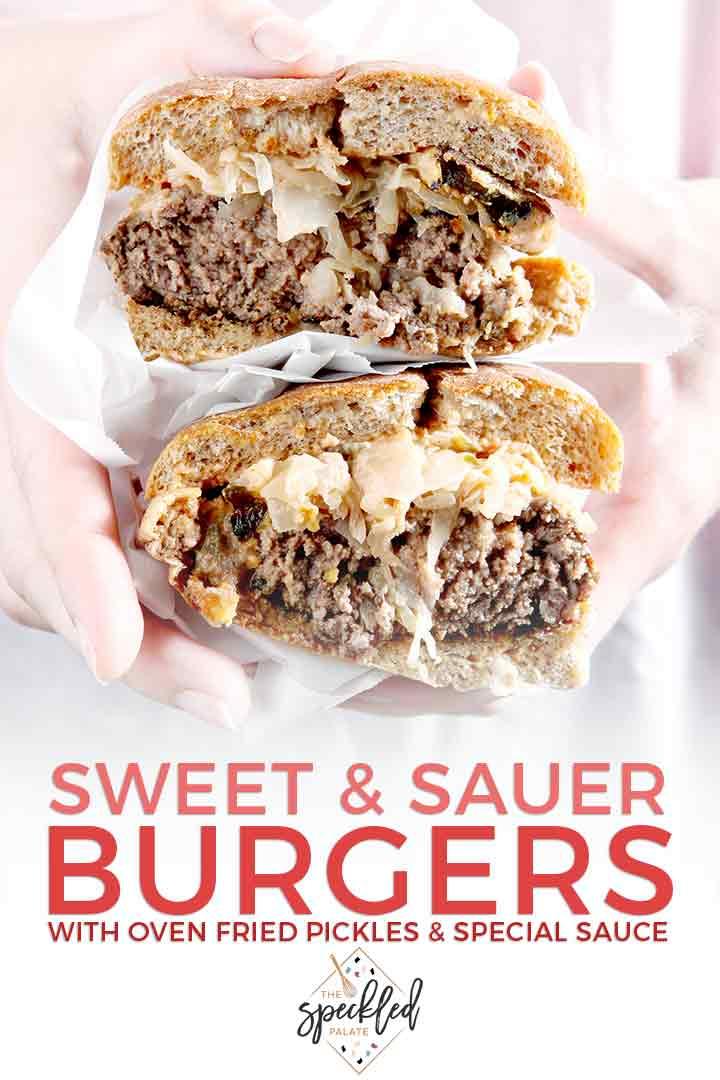 Close up of a woman holding a Sauerkraut Burger with Pinterest text