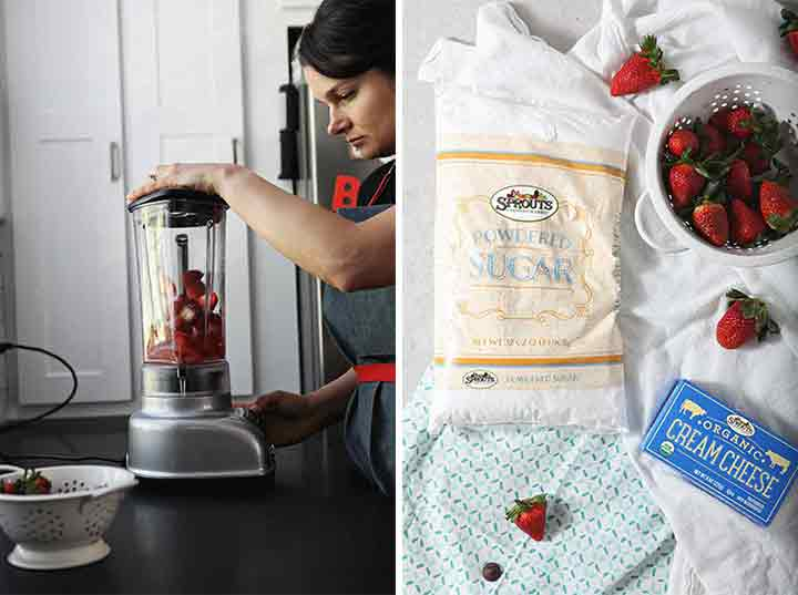 Collage of a woman making strawberry cream cheese frosting in a blender and the ingredients for it