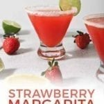 Close up of a Strawberry Margarita with Pinterest text