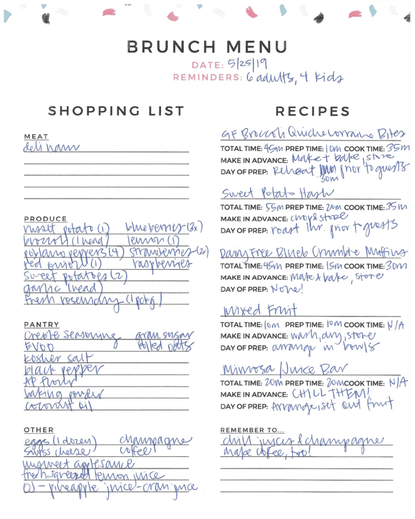 A brunch menu is filled out, including a shopping list, tasks and reminders
